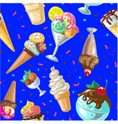 icecream seamless pattern design vector image