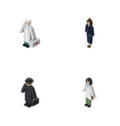 Isometric person set of doctor detective vector