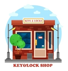 Key and locks local shop or store vector image vector image