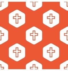 Orange hexagon christian cross pattern vector image