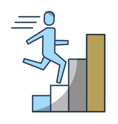 businessman run up ladder diagram bars success vector image
