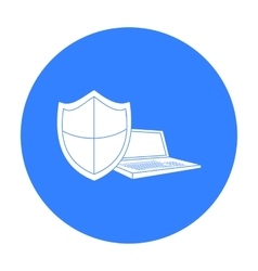 Data security of laptop icon in outline style vector image vector image