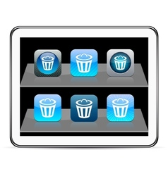 Dustbin blue app vector image