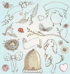 Hand Drawn Vintage Spring Elements Set vector image