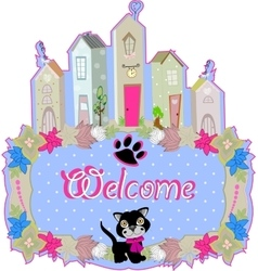 baby cat hold a welcome sign vector image