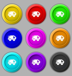 Car Icon sign symbol on nine round colourful vector image