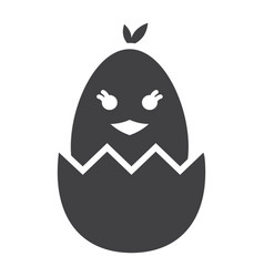 chick hatched from an egg glyph icon easter vector image