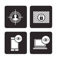 set cyber security protection data technology vector image