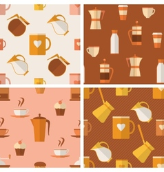Set of seamless patterns with coffee items vector image vector image