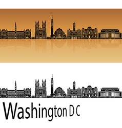 Washington DC V2 skyline in orange vector image vector image