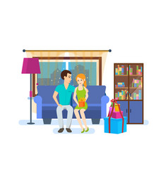 young couple of the interior of the room vector image vector image