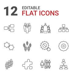 12 teamwork icons vector