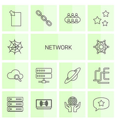 14 network icons vector image