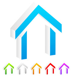 3d house symbols icons in more colors vector