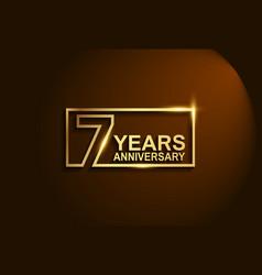7 years anniversary golden design line style vector