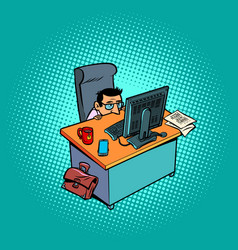 A scared and timid male businessman works vector