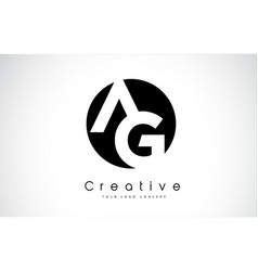 Ag letter logo design inside a black circle vector