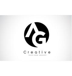 ag letter logo design inside a black circle vector image
