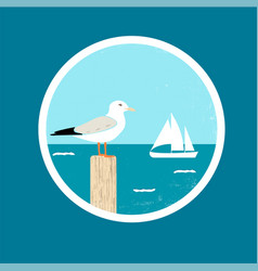 Badge with seagull and ship vector
