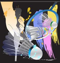 Badminton sport action brush and hands vector