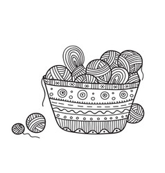 Balls yarn in knitting basket vector