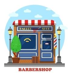 Barbershop or barbers store shop building vector image