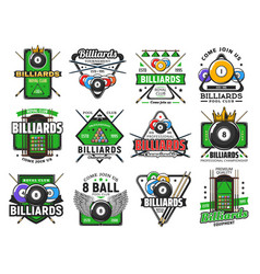 Billiards pool game snooker sport club icons vector
