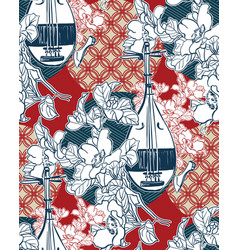 Biwa sanshin sketch line art japanese chinese vector