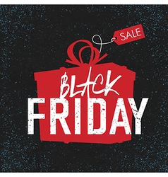black friday black background gift box vector image