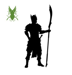 Black silhouette of elven knight with spear vector