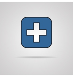 Blue cross icon with shadow eps10 vector