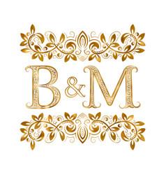 Bm vintage initials logo symbol letters b vector