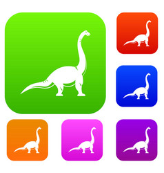 brachiosaurus dinosaur set color collection vector image