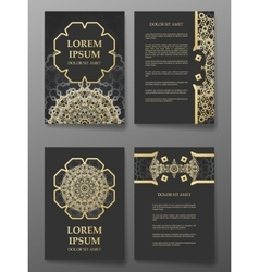 Brochure templates cards with arabic mandala vector