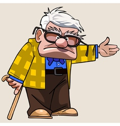 Cartoon Grandfather with a cane shows his hand vector