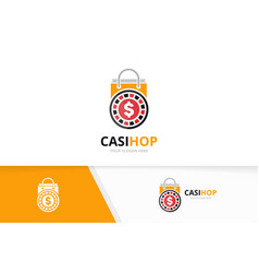 Casino and shop logo combination chip and vector