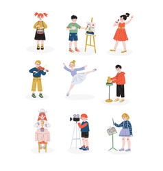 Children and their hobbies set boys and girls vector