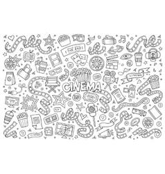 Cinema movie film doodles sketchy symbols vector image