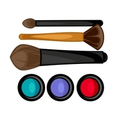 Colored pallets with eye shadows brushes for eye vector