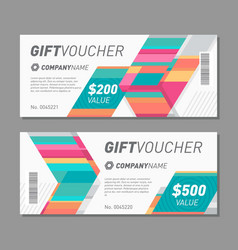 Colorful gift voucher template vector