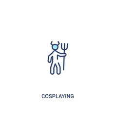 Cosplaying concept 2 colored icon simple line vector