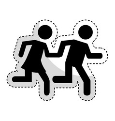 couple running silhouette icon vector image