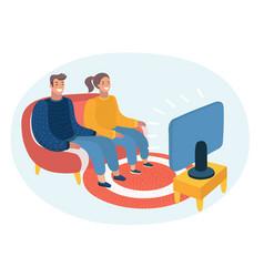 couple watching tv tv audience tv program tv vector image