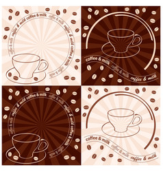 Cup and coffee beans - light beige and dark brown vector
