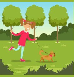 Cute smiling girl walking with her dog in the park vector