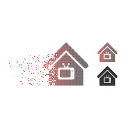 Destructed pixel halftone tv office icon vector