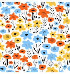 ditsy flower field seamless pattern blue vector image