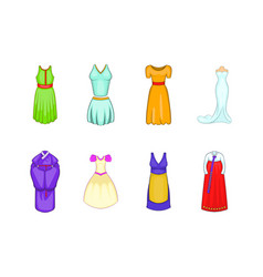 dress icon set cartoon style vector image
