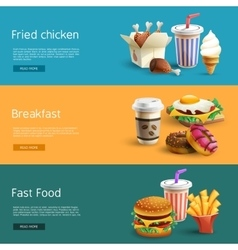 Fastfood options pictograms 3 horizontal banners vector