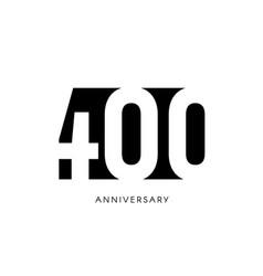 four hundred anniversary minimalistic logo vector image